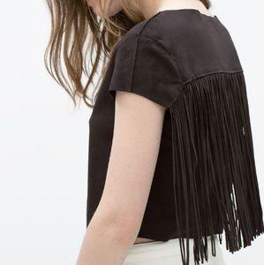 Zara Black Trafaluc Faux Suede Fringe Crop Top * M